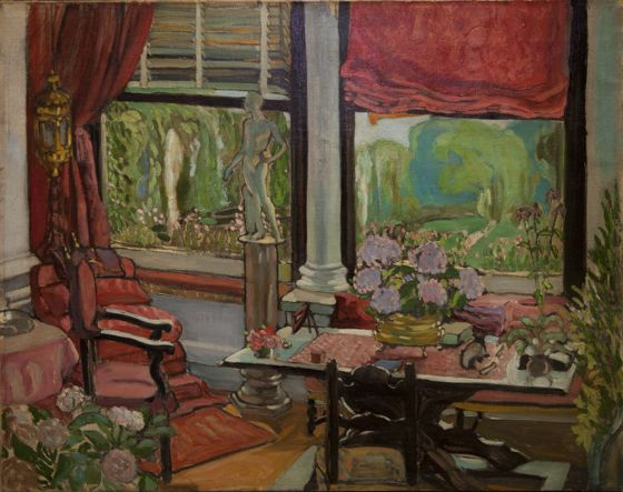 Earl Gyula Batthyány: Interior with Park (oil, canvas, 59 x 74 cm, unsigned) starting price: 6.200.000 HUF