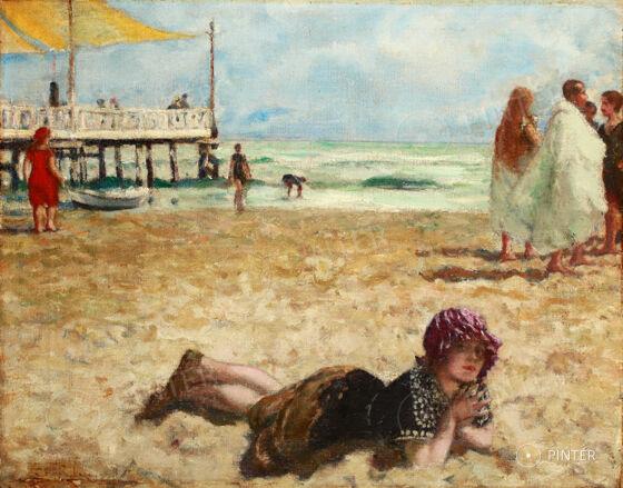 István Csók (1865-1961): Züzü on Shore (oil, canvas, 38 x 48 cm, s.l.l.: Csoki) Starting price: 1.600.000 HUF